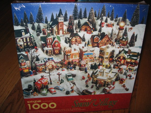 Image 0 of Snow village Houses Hallmark 1000 pieces sealed Puzzle  year 1997