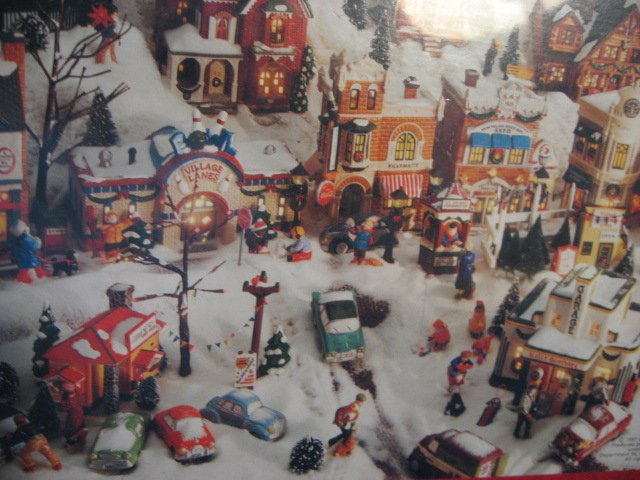 Image 1 of Snow village Houses Hallmark 1000 pieces sealed Puzzle  year 1997