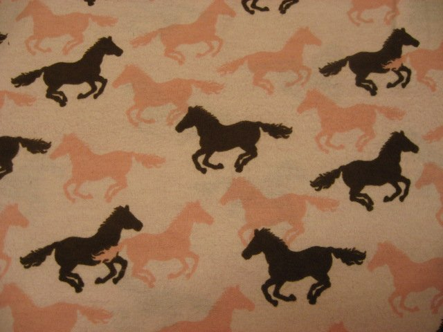 Image 0 of Pink and brown horses Toddler Daycare Flannel Baby Blanket