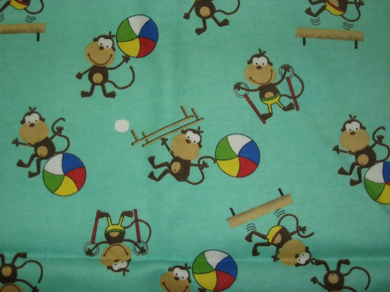 Image 0 of Monkeys excercise equipment jump ropes Toddler Daycare Flannel Baby Blanket