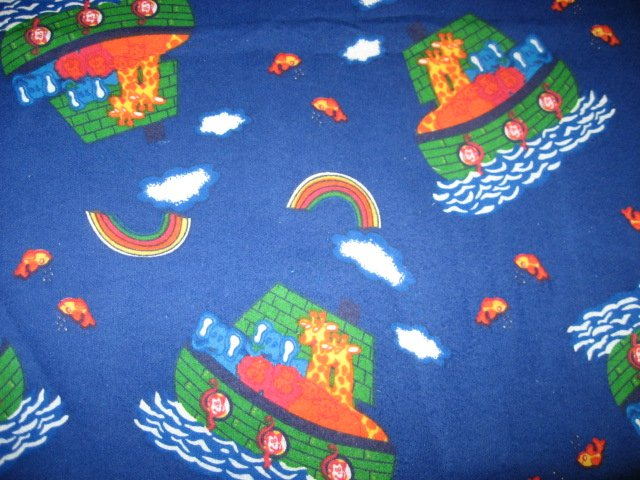 Noah's Ark boat animal Giraffe Monkey Toddler Daycare Blue Flannel Baby Blanket