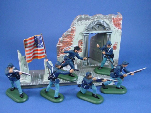 Britains Deetail Civil War Union 7th New Jersey Infantry with Flag Bearer and Mansion