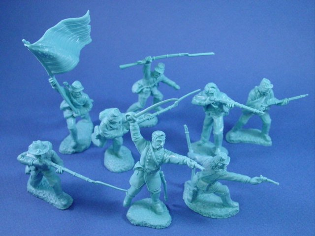 Civil War Toy Soldiers 54mm Union Infantry Charging Set Powder Blue