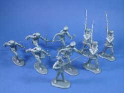 Thumbnail of BEST BUY! Marx Alamo Playset 54mm Frontiersmen in Silver with 45mm Davy Crockett