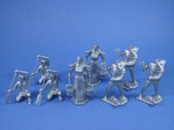 Thumbnail of Marx 54mm Pioneer Family with Indian Paddler 8 Piece Set in Silver