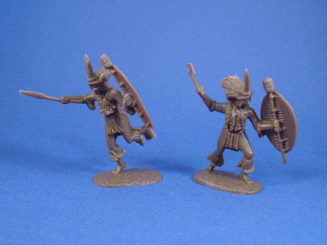 Armies in Plastic 54mm Zulu Wars Uthulwanda Regiment 18 figures in 6 poses cast in brown
