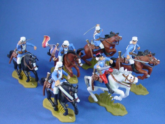 Britains Deetail DSG Toy Soldiers Mounted French Foreign Legion with Flag Bearer