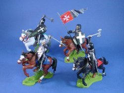 Thumbnail of ALL NEW! Britains Deetail DSG Toy Soldiers Mounted Black Knights 4 Piece Set