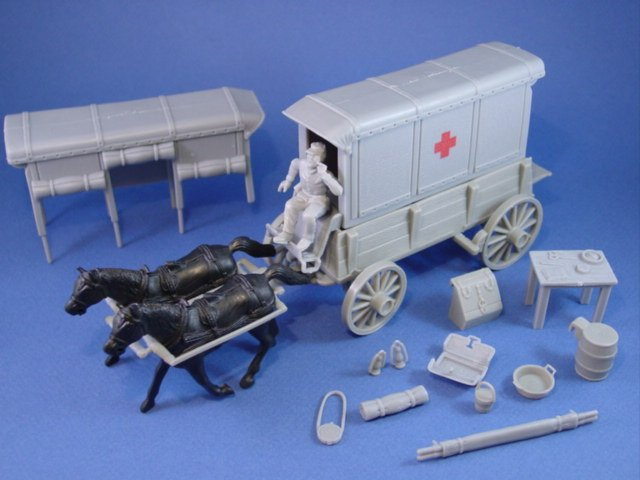 Civil War Toy Soldiers Marx playset Confederate Ambulance Wagon Set with Supplies