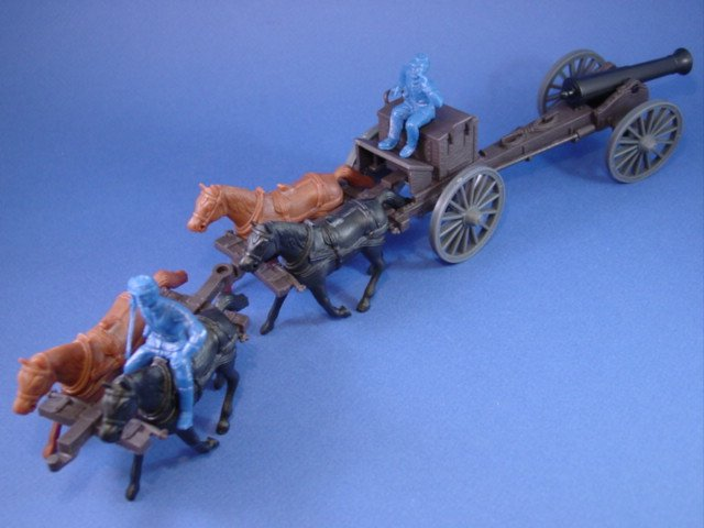 Marx Playset CTS Civil War Toy Soldiers Union Caisson Set with 24-pounder Cannon