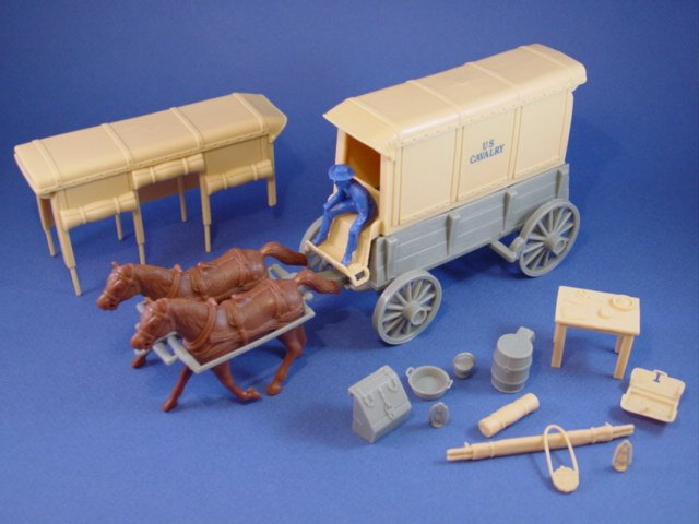 Marx Toy Soldiers Playset CTS US 7th Cavalry Wagon Set with Supplies