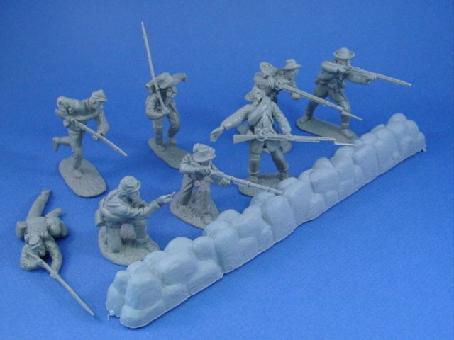 Civil War Toy Soldiers 54mm Confederate Infantry at Gettysburg 17 Piece Set
