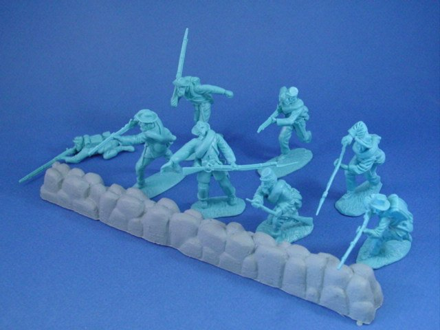 CTS 54mm Union Infantry 16 piece set in 8 highly detailed poses with stonewall section. Each set includes 2 of each pose.