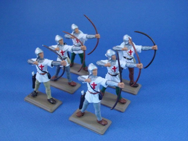 CUSTOM SET! Britains Deetail DSG Templar Archers in white tunics. 6 hand painted figures in one pose.