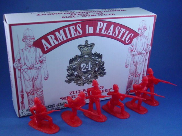 Armies in Plastic 54mm British 24th Foot Shirt Sleeve Order Infantry 18 Figures 6 Poses Cast in Red