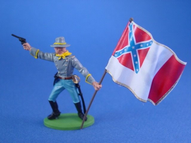 Britains Deetail DSG Civil War Confederate Toy Soldiers 3rd National Flag Flag Bearer