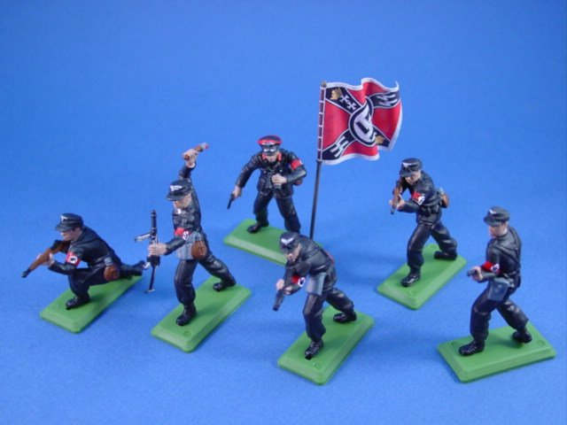 Britains Deetail DSG WWII German Toy Soldiers SS Troops with Regimental Flag