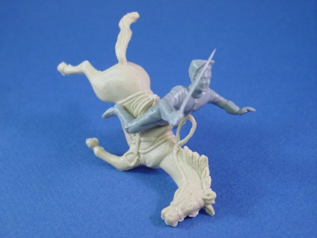 Marx Blue and Gray Playset Recast Confederate Falling Horse and Rider