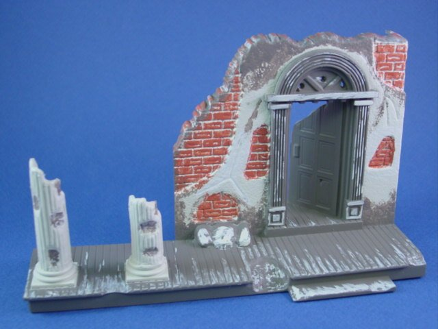 Marx Civil War Toy Soldiers Playset Painted Destroyed Mansion
