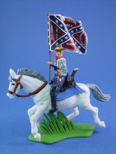 Britains Deetail DSG Toy Soldier Mounted Confederate Texas Cavalry Flag Bearer