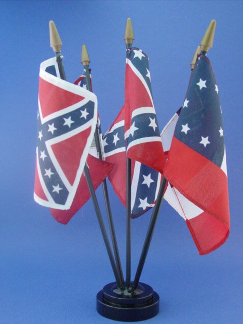 Civil War Confederate Flags Desk Set Includes Base with 5 Rebel Flags
