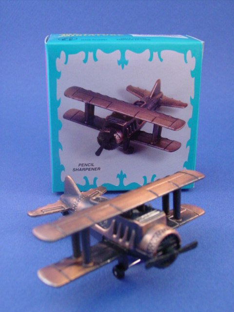 Toy Soldiers WWI Era Bi-Plane Diecast Metal Pencil Sharpener 1/72 Scale