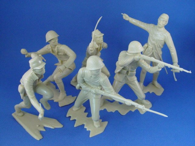 Marx 6 Inch Toy Soldiers WWII Japanese Infantry Figures 6 Piece Set OLD STOCK!