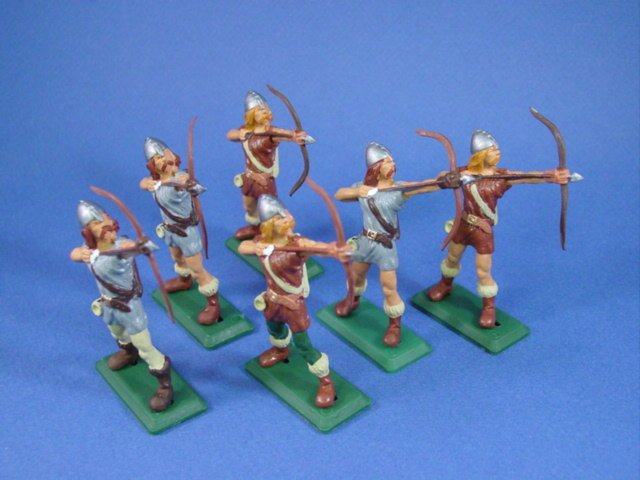 Britains Deetail DSG Toy Soldiers Viking Archers. Complete set of 6 figures.