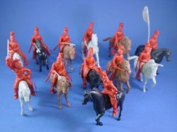 Thumbnail of CTS Alamo Playset Toy Soldiers Mexican Helmeted Cavalry 12 Piece Set in Red