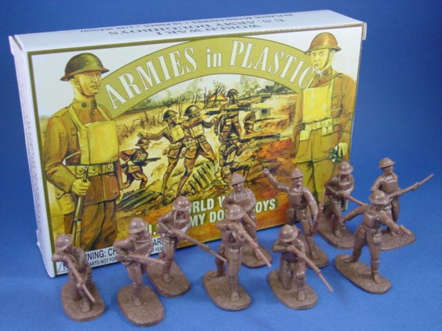 Armies in Plastic 54mm WWI US Army Infantry Doughboys 20 Figures in Brown