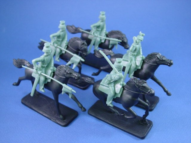 Armies in Plastic 54mm WWI German Uhlans 5 Mounted Figures in Blue/Gray
