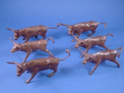Thumbnail of BACK IN STOCK! Marx Western Playset 54mm Long Horn Steers 6 in 2 Poses