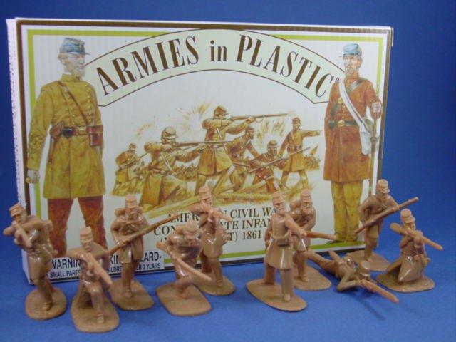 Armies in Plastic 54mm Civil War Confederate Infantry 20 Figures in Butternut