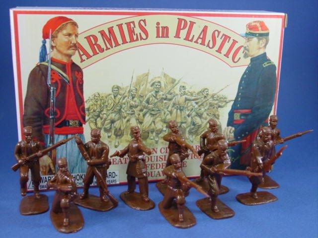 54mm Civil War Confederate Louisiana Tiger Zouaves 20 Figures Cast in Dark Brown