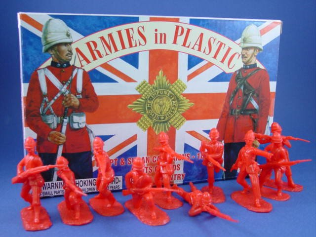 Armies in Plastic 54mm British Scots Guards Infantry 20 Figures 10 Poses Cast in Red