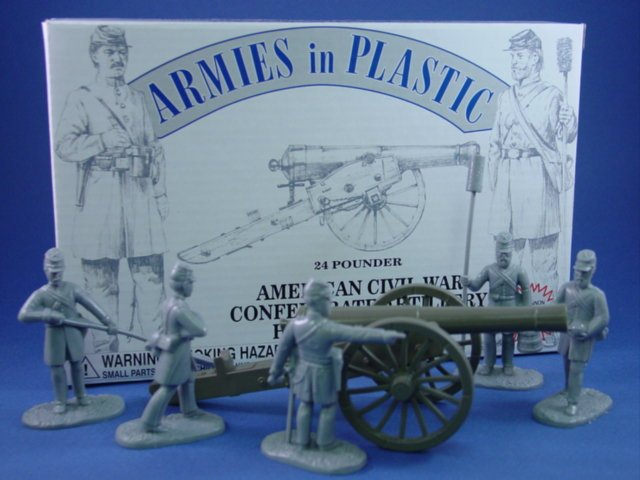 Armies in Plastic 54mm Civil War Confederate Artillery Set with 24 Pounder and 5 Man Crew