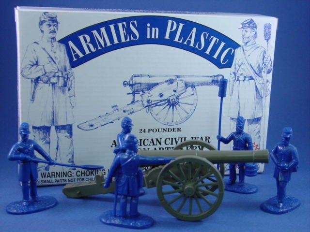 Armies in Plastic 54mm Civil War Union Artillery Set with 24 Pounder and 5 man crew