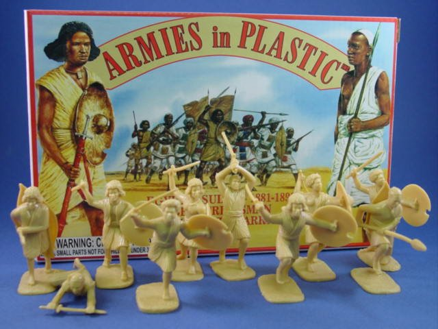Armies in Plastic 54mm Beja Tribesman Fuzzy Wuzzy Warriors - 20 figures cast in light tan