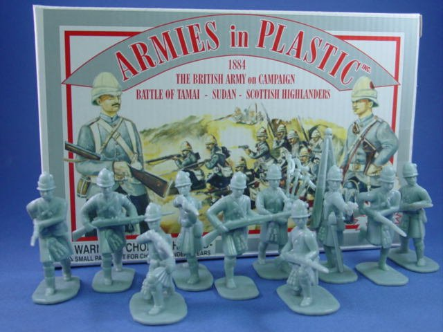 Armies in Plastic 54mm British Scottish Highlanders  - 20 figures cast in light gray