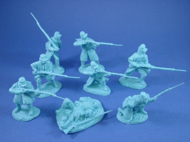 54mm Union Infantry in Great Coats. Set of 8 in 8 highly detailed poses.