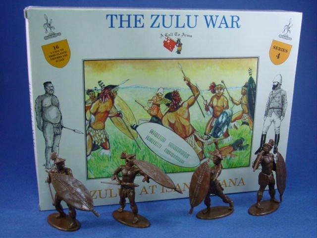1:32 Zulu War Zulus at Isandlwana 16 Plastic Figures in 4 Poses