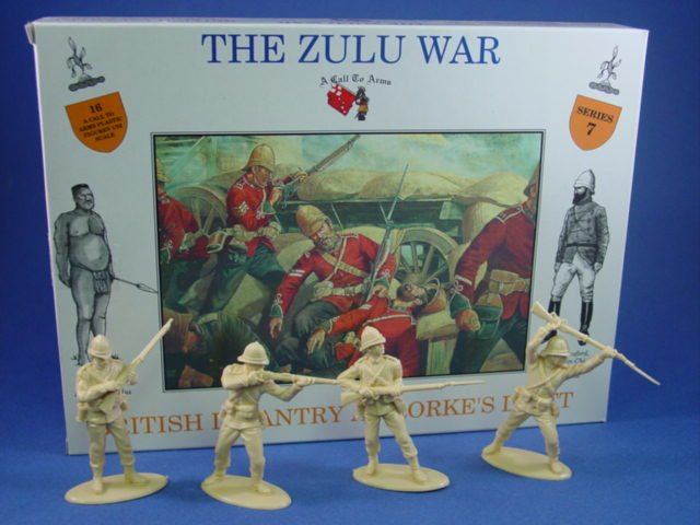 1:32 Zulu War British Infantry at Rorke's Drift 16 Plastic Figures in 4 Poses