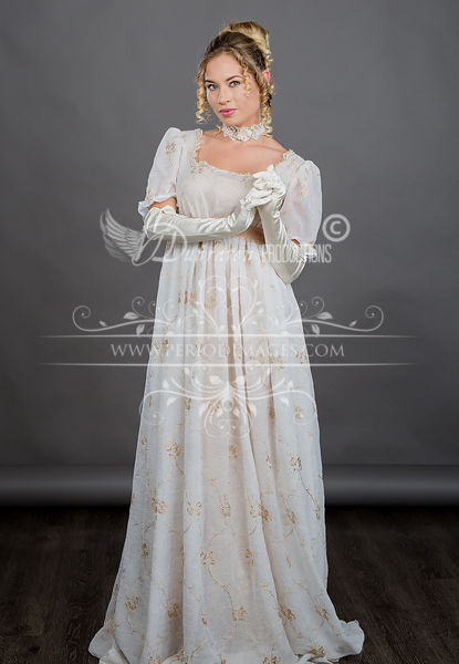 Image 1 of Regency Ivory Gold Gown