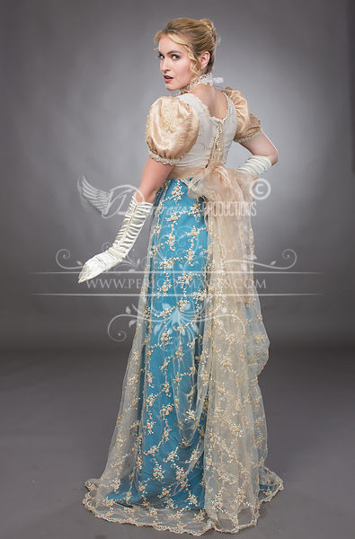 Image 0 of Regency Beaded Turquoise & Gold Gown