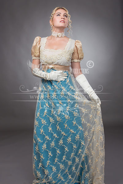 Image 1 of Regency Beaded Turquoise & Gold Gown