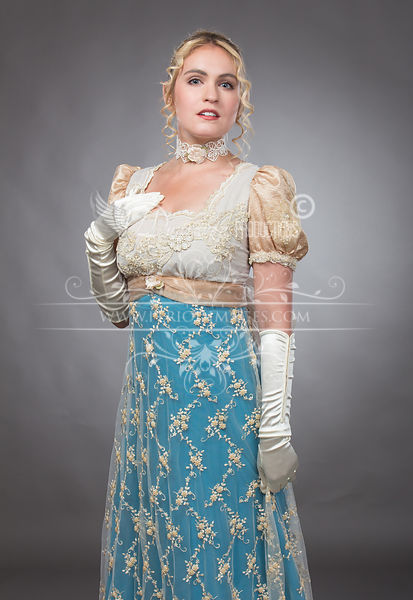 Image 2 of Regency Beaded Turquoise & Gold Gown