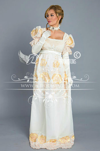 Image 1 of Regency Cream and Gold Poppy Gown