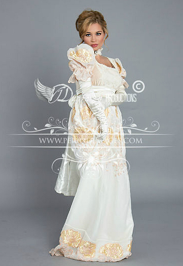 Image 2 of Regency Cream and Gold Poppy Gown