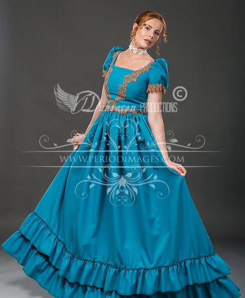 Image 0 of Victorian Turquoise Walking Dress