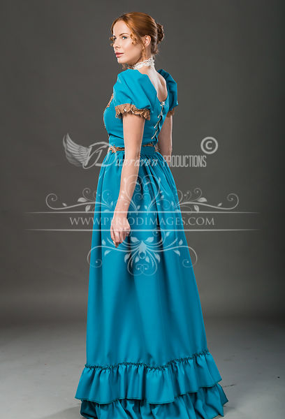 Image 1 of Victorian Turquoise Walking Dress